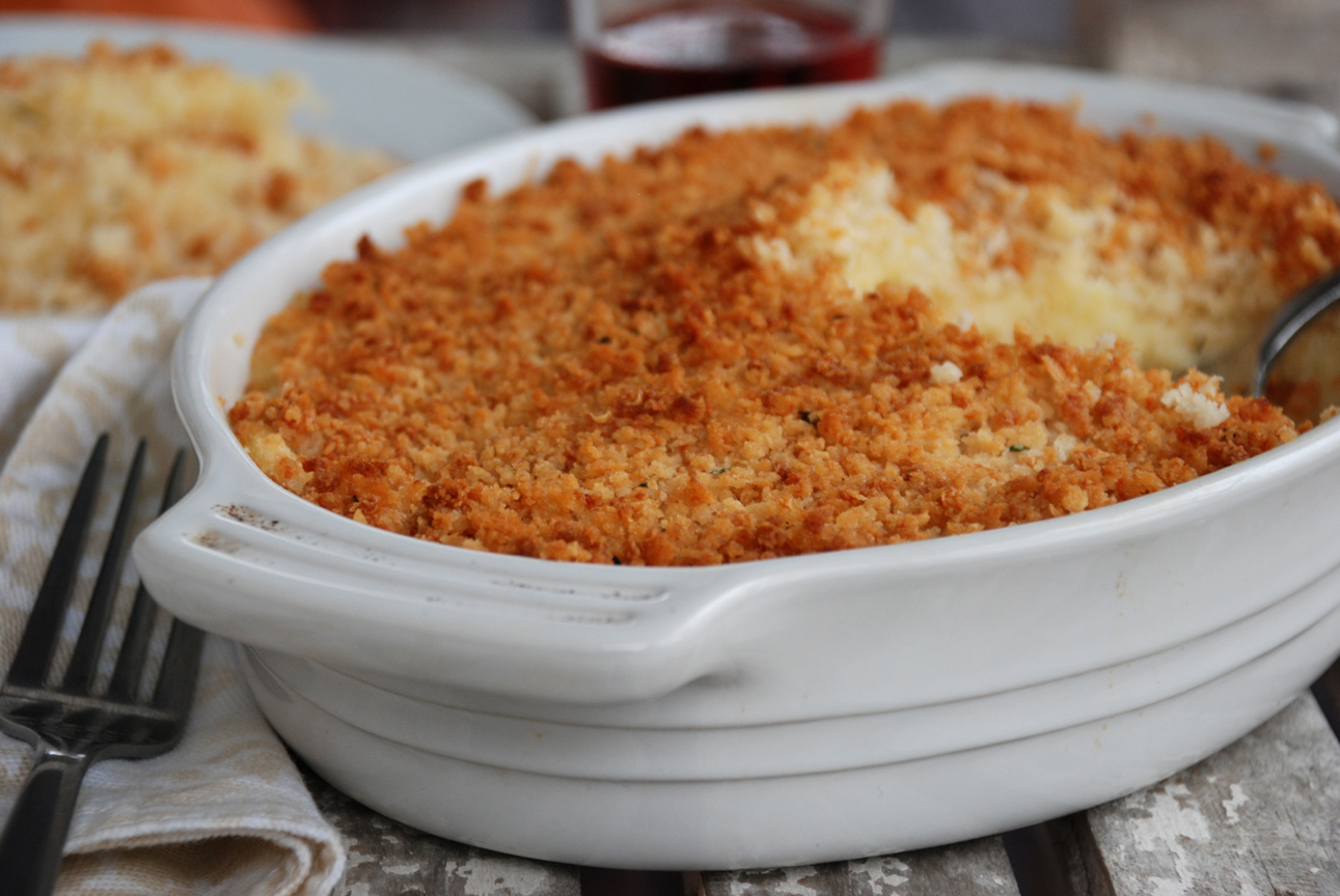 Crème Fraiche Mashed Parsnips with Panko Breadcrumb Topping