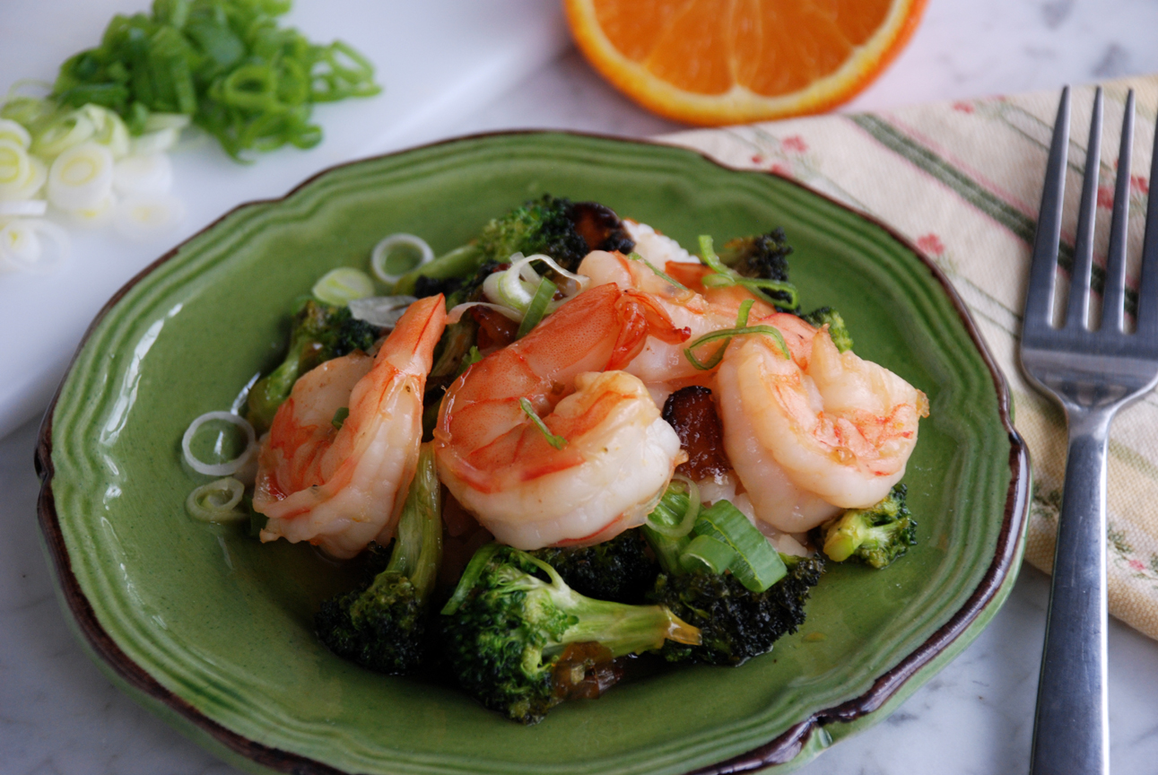 Orange-Honey Shrimp with Broccoli
