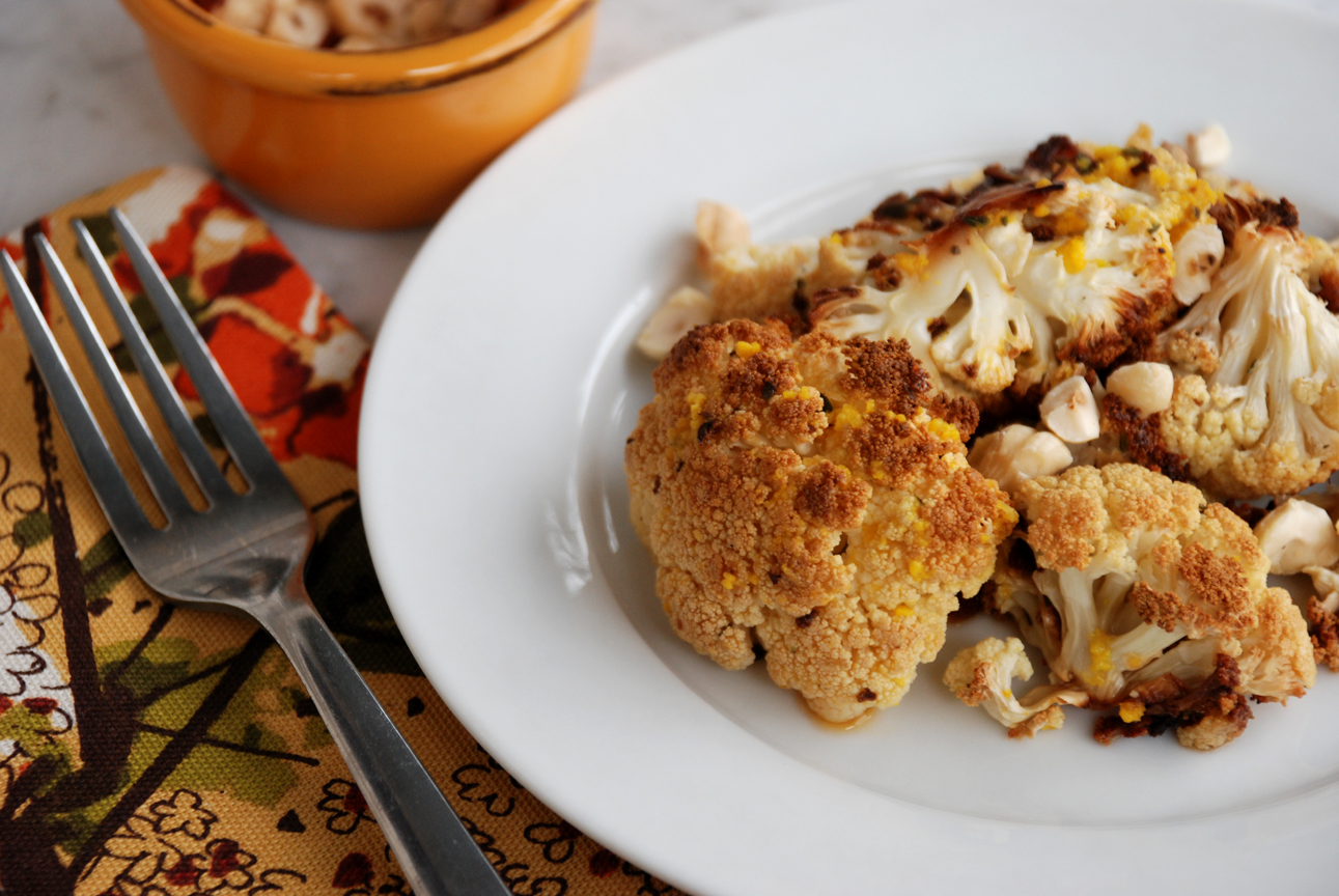 Roasted Cauliflower with Hazelnuts and Gorgonzola