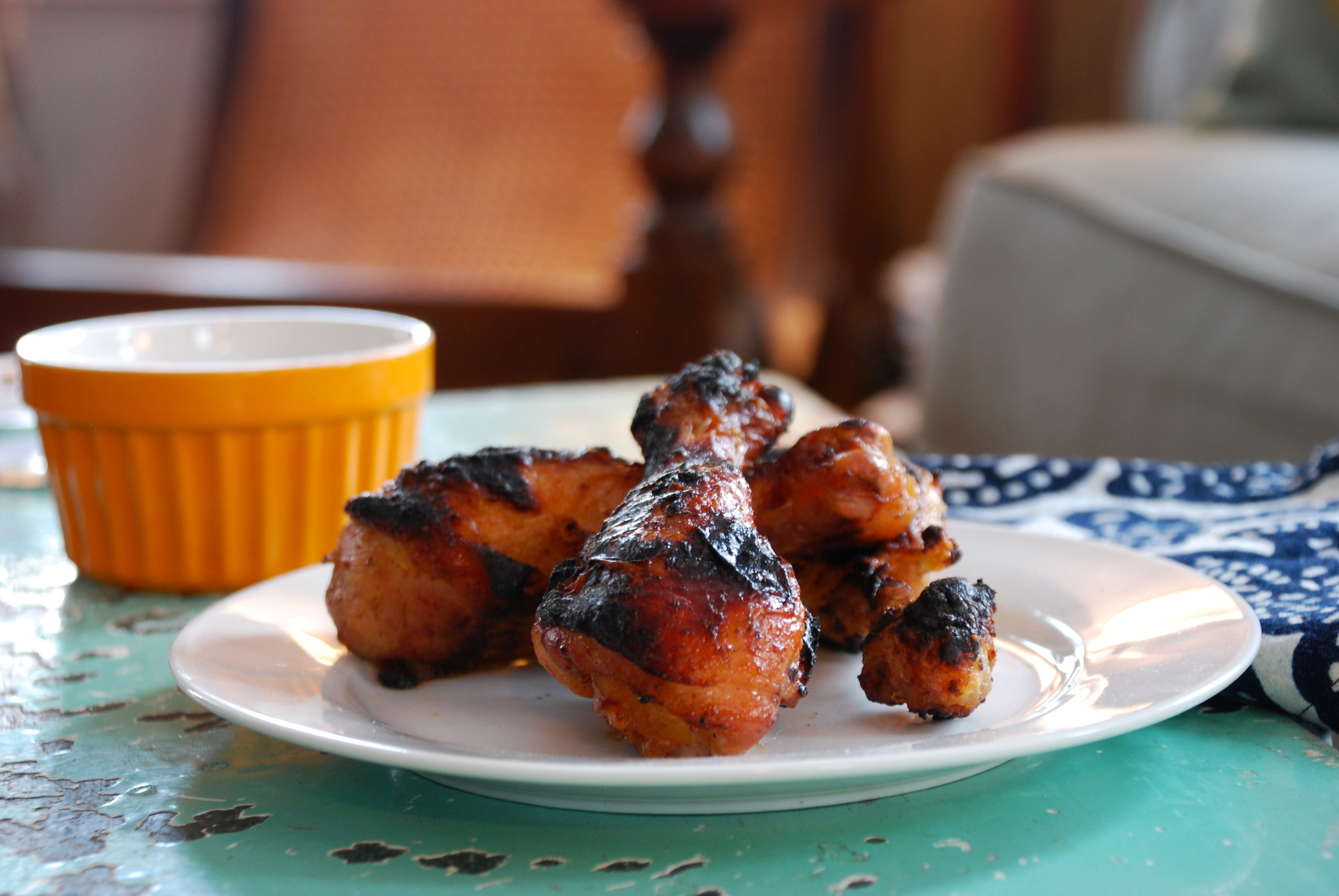 Orange-Maple Chicken Drumsticks with Orange-Gorgonzola Dipping Sauce