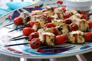 Swordfish and Tomato Kabobs with Salsa Verde Mayonnaise at Edible Rhody