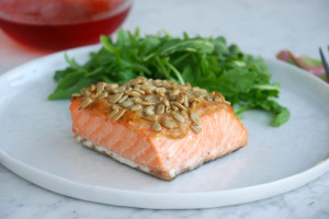 Roasted Salmon with Peanut Sauce + a Cookbooks and Calphalon giveaway