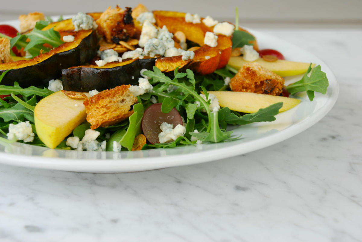 Green Salad with Roasted Squash, Apple, and Grapes