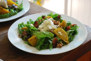 Beet, Goat Cheese, and Bacon Salad with Honey-Lime Dressing