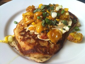 Happy Campers Eat Savory Ricotta Pancakes with Slow-Roasted Tomato Sauce
