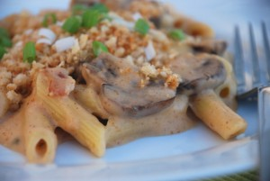 Spicy Mushroom-Bacon Macaroni and Cheese