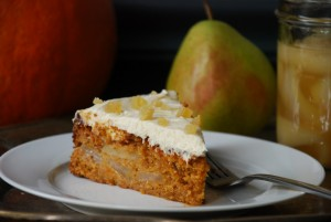 Whole Wheat Pumpkin-Pear Cake with Ginger-Cream Cheese Frosting
