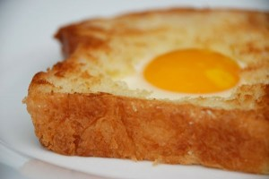 Wordless Friday: Eggs in an Oak Leaf-shaped Day-old Brioche Nest
