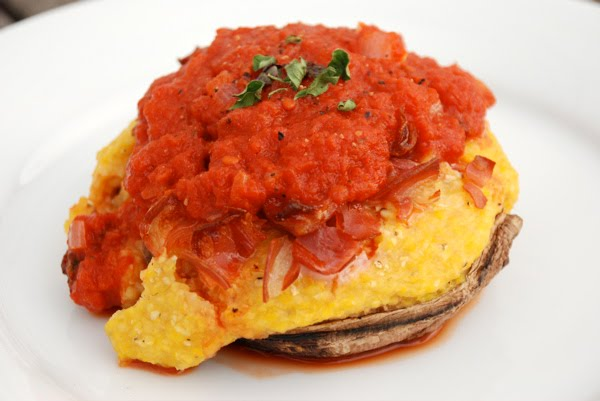 Polenta-stuffed Portabella Mushrooms with Pancetta and Tomato Sauce ...